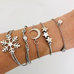 Jewelry - 5 Piece Boho Charm Bracelet Set Snowflake Stars